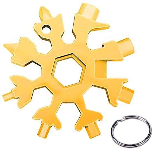 llave inglesa,Multi herramienta copo de nieve Tarjeta de la herramienta del copo de nieve Destornillador de acero Llavero Abrebotellas Tarjeta(Oro)