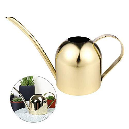 Mini regadera, 500 ml de acero inoxidable de boca larga bonsái para jardín, casa, planta interior y exterior (dorado)