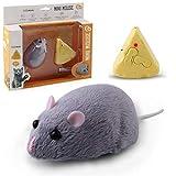 kylew Ratón de peluche de juguete de juguete de gato de movimiento automático con sonidos realistas Control remoto inalámbrico eléctrico complicado simulación ratón
