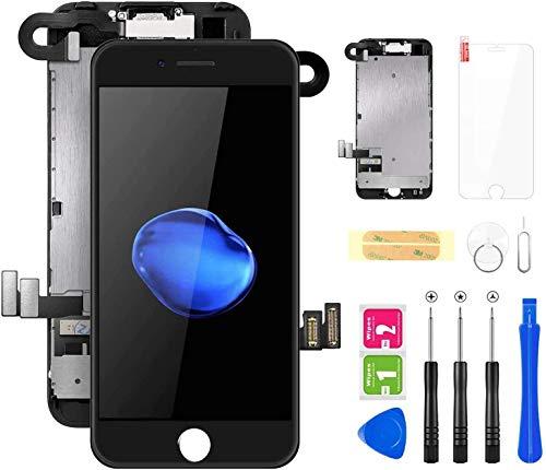 LYLINKTECH iPhone7 フロントパネル 取り付け簡単化 スピーカー+カメラ+近接センサーが付き ガラス割れ 修理画面修理交換用 タッチパネル LCD液晶パネル 修理パーツ デジタイザ 修理工具+画面保護フィルム付属 (黒い)