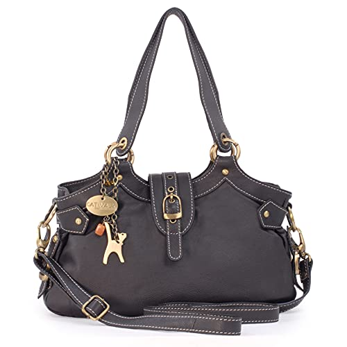 Catwalk Collection Handbags - Vera Pelle - Borsa a Tracolla/Borse a Mano/Spalla/Tracolla Regolabile e Rimovibile - Con Ciondolo a Forma di Gatto - Nicole - MARRONE