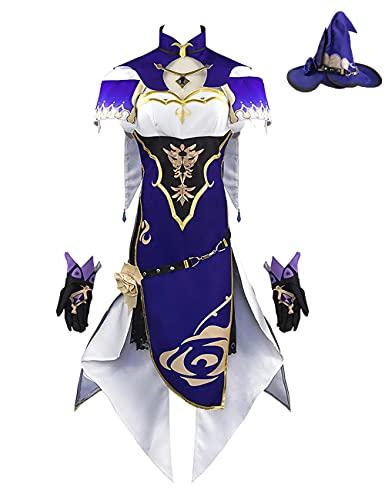 Genshin Impact Lisa - Disfraz de cosplay para mujer, uniforme de Halloween, Navidad, cosplay, conjunto completo para nias y nios, morado, XL