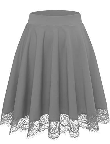 Bbonlinedress Damen Mini Rock Basic Solid Vielseitige Dehnbaren Informell Minikleid Retro Sexy Rock Grau Faltenrock Röcke für Damen Skirts Grey S