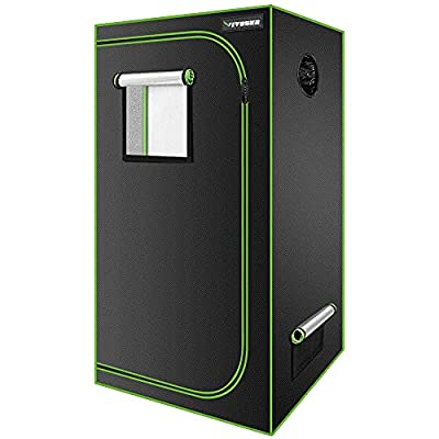 """VIVOSUN 24"""" x 24"""" x 48"""" Hydroponic Mylar Grow Tent with Observation Window and Floor Tray for Indoor Plant Growing - 2' x 2'"""