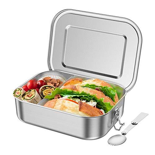 Aerb Edelstahl Brotdose 1400ml Plastikfrei Lunchbox mit Beweglich Trennwand und Auslaufsicher Design, Bento Box für Kinder & Erwachsene(LFGB Zertifikat, 21.5x16.5x6.5cm)