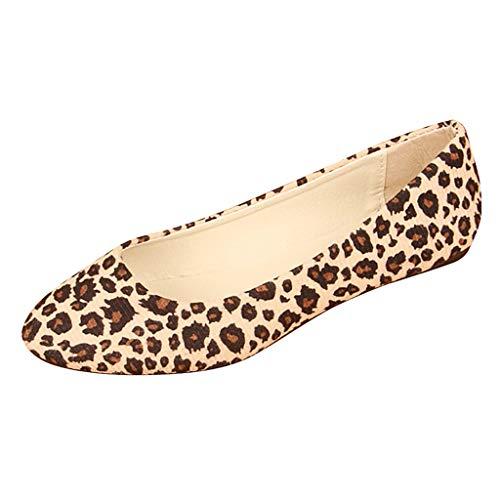 YWLINK Zapatos Planos Mujer Moda Leopardo TamañO Grande Zapatos Casuales De Boca Baja Trabajo Zapatos Solos CóModo Mocasines Viajes Zapatillas De Deporte Senderismo Ciclismo Regalo(Beige,36EU)