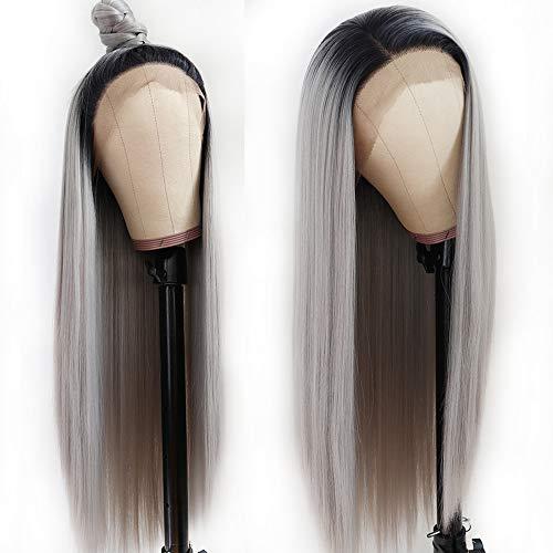 Lezaxiu Long Straight Lace Front Wigs Glueless Ombre Gray Wig Heat Resistant Fiber Hair Natural Silver Grey Straight Synthetic Lace Front Wigs for Black Women 24 inch