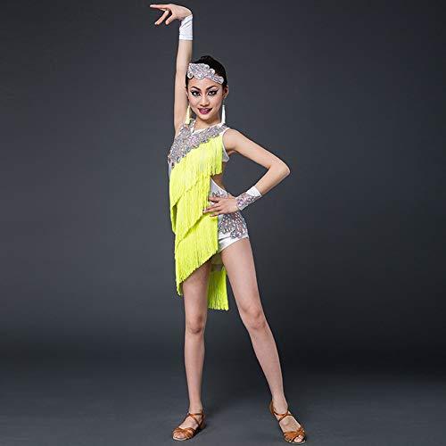 Traje Disfraces competencia de baile de baile latino de vestuario femenino de la borla de diamante chica latina de la danza de la falda de los niños de los niños los niños Ropa- América,Amarillo,160cm