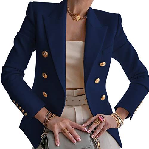 Puimentiua Blazer Formal Solapa para Mujer Chaqueta de Traje Jacket Ligero de Trabajo Oficina Cárdigan de Manga Larga con Frente Abierto con Bolsillos(Azul Oscuro,L)