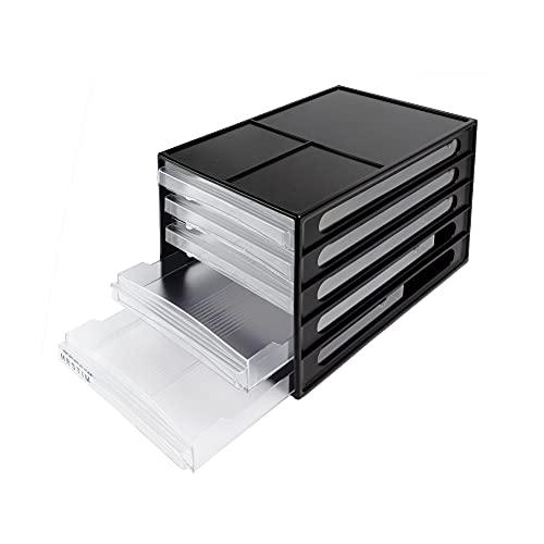 Mestim - Organizer Schubladenbox für Bürobedarf schwarz – 5 durchsichtige Kunststofffächer á 250B x 340T x 230H mm für DIN A4 Formate – Stapelbares Ordnungssystem für Büroartikel auf dem Schreibtisch