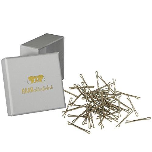 HAARallerliebst 50 Mini Haarklammern Haarnadeln Bobby Pins kurz beige für Blonde Haare 3,4cm klein in Pinker Box (Schachtelfarbe: Weiß)