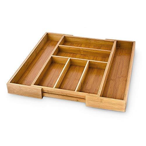 Relaxdays 10016742 Range-Couverts organiseur de Tiroir de Cuisine en bois HxlxP : 5 x 48 x 46 cm Extensible en bambou