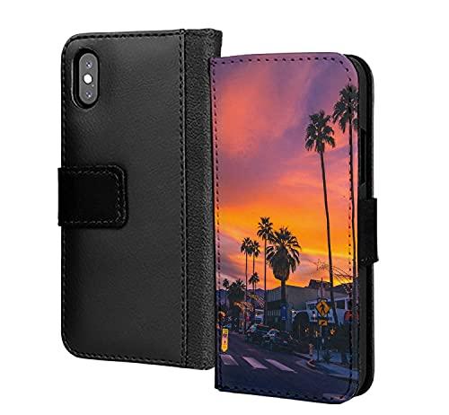 Road to Sunset Florida Hermosa noche de verano pu cuero cartera en tarjeta teléfono caso cubierta para Samsung Galaxy A01