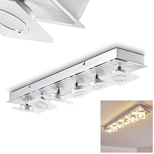 LED plafondlamp Vridsted van metaal in aluminiumkleuren - extravagante LED kamerlamp voor woonkamer - slaapkamer - met afzonderlijk verstelbare spots - 3000 Kelvin warmwit licht - 2280 lumen