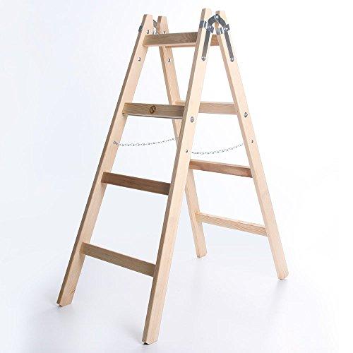 Holzleiter PREMIUM 2x4 Stufen Zweiseitige Klappleiter Leiter Haushaltsleiter 150kg