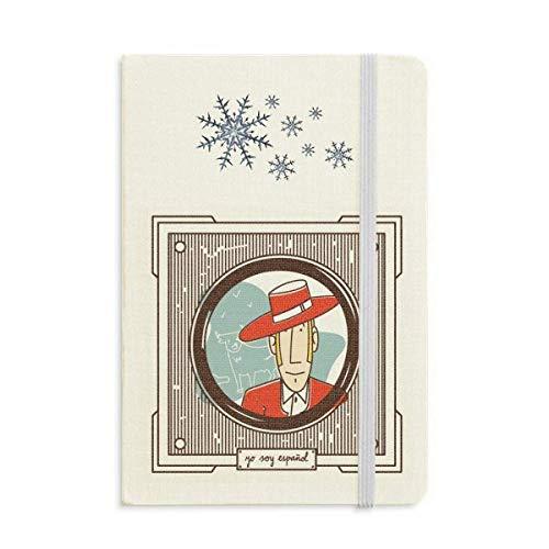 Cuaderno de ilustración española de ropa roja grueso de copos de nieve...