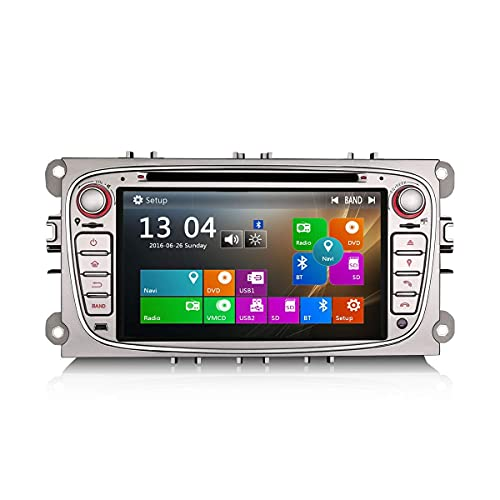 Estéreo de coche de 7 pulgadas 2 Din para Ford Focus C/S-Max Mondeo Galaxy Car Multimedia GPS Navigatoin Car DVD Player HD 1080P Pantalla táctil digital Car DVR DAB + Control del volante USB SD DAB