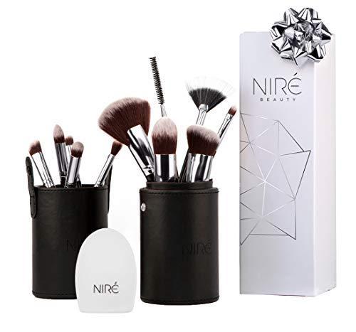 Niré Beauty: Set de brochas para contouring, corregir e iluminar, con esponja Niré Beauty, limpiador de brochas y estuche de brochas