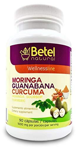 Premium Organic Moringa Guanabana and Curcuma by Betel Natural - 3 Powerful Superfoods in 1-90 Capsules