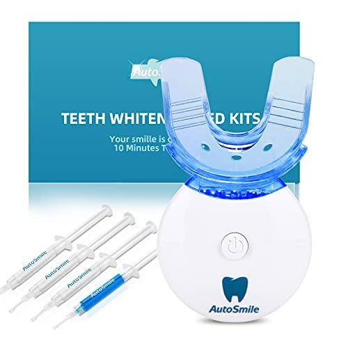 AutoSmile Teeth Whitening Kit - 2021 Upgraded Professionell Home Zahnaufhellung Set mit LED Licht und 4 Zahnaufhellung Stifte,Zähne Bleichen Bleaching Set, Gegen Gelbe Zähne, Rauchflecken