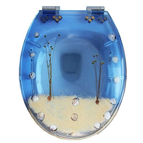 WC Sitz Toilettensitz, durchsichtiger Harzwagensitz Toilettensitz-Farbdeckel Vintage langsam Verdickung UVO Typ universal