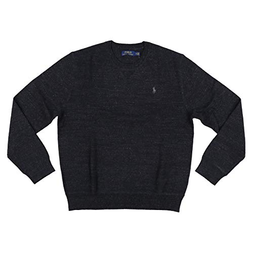 Polo Ralph Lauren Mens Crew Neck Pullover Sweater (Small, Black Heather)