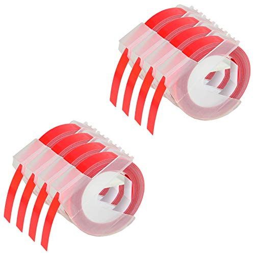 """KCMYTONER 8 roll Pack Replace 3D Plastic Embossing Labels Tape for Embossing White on Red 3/8"""" x 9.8' 9mm x 3m 520102 Compatible for Dymo Executive III Embosser 1011 1550 1570 1610 Label Markers"""