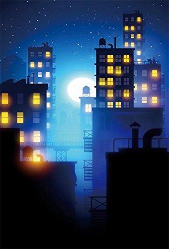 LFEEY 5x7ft Cartoon City Night Photo Backdrop Comic Book...