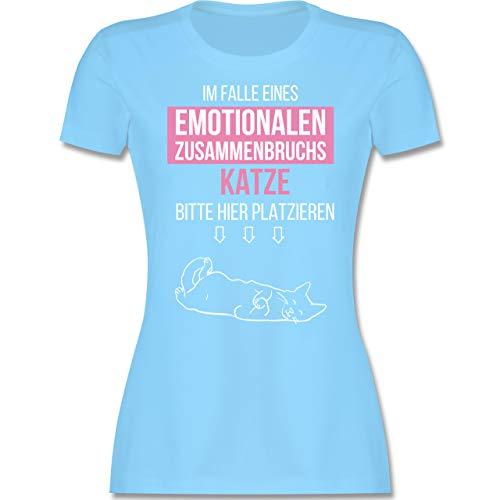 Statement - Im Falle eines emotionalen Zusammenbruchs Katze Hier platzieren - L - Hellblau - Shirt schwarz Damen Katze - L191 - Tailliertes Tshirt für Damen und Frauen T-Shirt