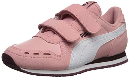 PUMA Unisex Cabana Racer Velcro Sneaker, Bridal Rose White-Vineyard Wine, 2 M US Little Kid