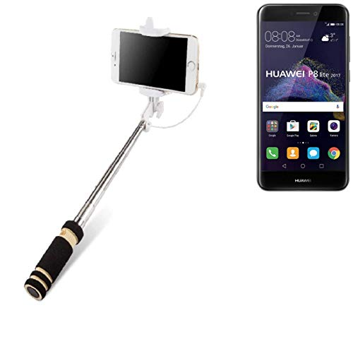 Selfie Stick per Huawei P8 Lite 2017 Dual SIM, nero, Monopiede, asta telescopica, Autoritratto