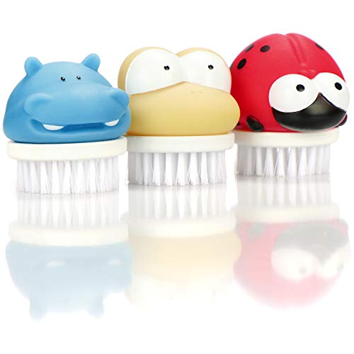 com-four® 3X Cepillos para Lavar Manos para Niños - Cepillos para Uñas con Diseños Bonitos - Cepillos para Baño para Manos y Uñas