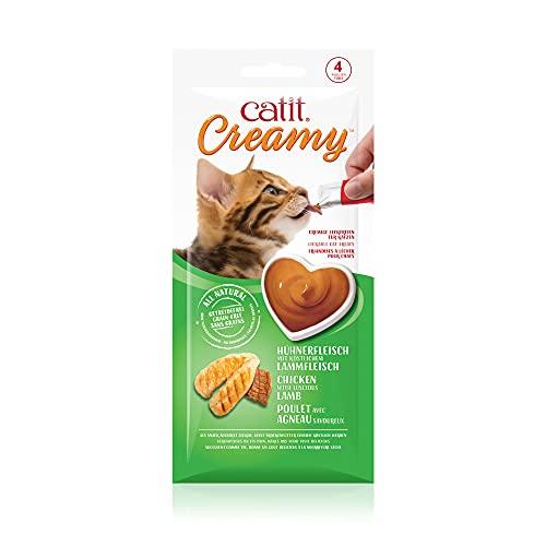 Catit Creamy Snack Morbido per Gatti Appetizzante Grain Free Topping per cibo secco 4 bustine da 10g cad. (Pollo e Agnello)