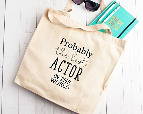 Cadeau De Beste Acteur In De Wereld Canvas Tote Winkeltas Cadeau voor TV Film Zeep Opera Drama Student Graduate Extra