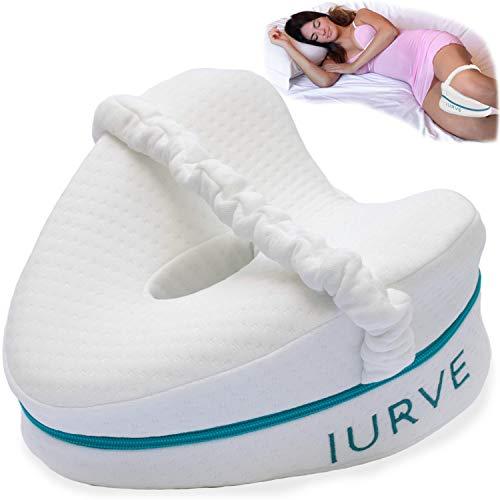 IURVE Knie-Kissen zum Schlafen – Memory-Schaum – lindert Rückenschmerzen und Ischiasschmerzen – Kissen zum Schlafen auf der Hüfte, auch für Frauen in der Schwangerschaft (weiß)