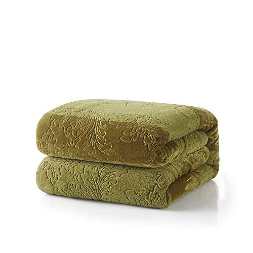 Tache Solid Green Cozy Super Soft Warm Evergreen Micro Fleece Sherpa Couch Bed Throw Blanket - 63 x 87