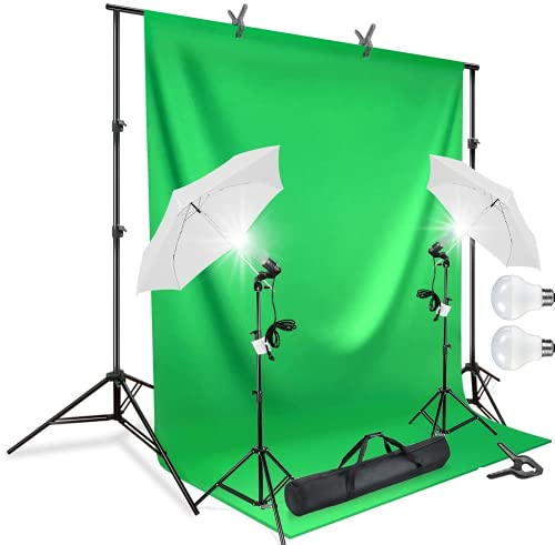HIFFIN® Photography Accessories Backdrop Photo Light Studio Muslin Background Stand Backdrop Support System Kit (Single Holder Umbrella Background Kit, Green)