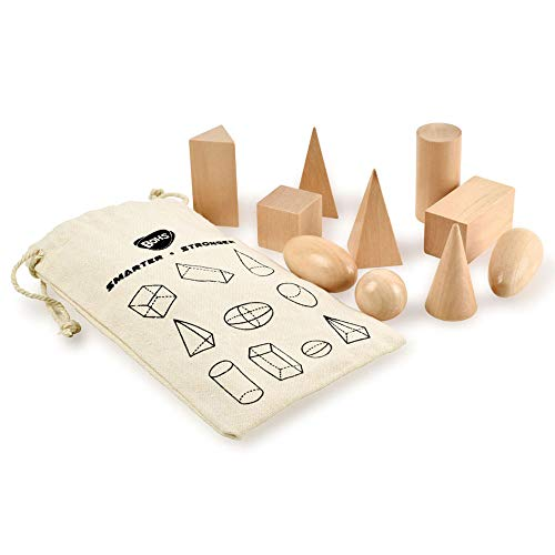 Sólidos de geometría en Bolsa de Misterio - Conjunto de Formas 3D en Miniatura -Montessori de Madera Juguetes - Pack de 10pcs - 3 años en adelante