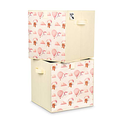 Just For You 2 Stück Spielzeugboxen Doppelpack 33x33x33 cm Set für Kinderzimmer Aufbewahrungsbox Kisten mit Handgriffen Bärchen Ballons Wolken für Spielzeug, Kleidung, Windeln (Bärchen rosa)