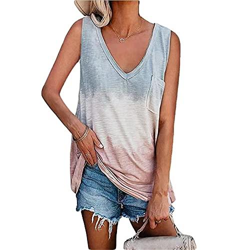 Camiseta Sin Mangas Mujer Moda Cómodo Verano Cuello V Empalme Mujer T-Shirts Único Bolsillos Decoración Sin Mangas Diseño Diario Casual Hogar Transpirable All-Match Mujer Tops A-Grey XL