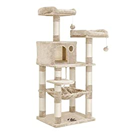 FEANDREA Arbre à Chat, Tour avec 2 perches, Hauteur 143 cm, Beige PCT15BE