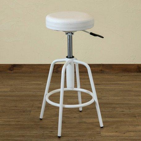 昇降式スツール Ares UTK-02 カウンターチェア 丸椅子 オフィスチェア (ホワイト)