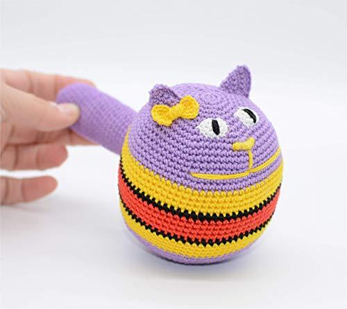 Bola de la tensión, juguete púrpura del gato, bola del