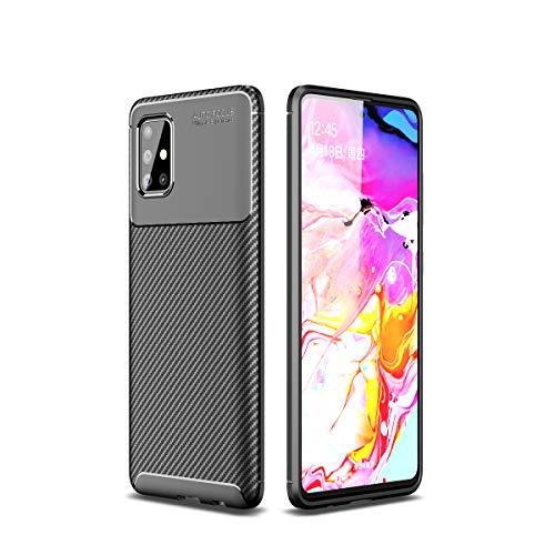 Cruzerlite Samsung Galaxy A51 hülle, Carbon Fiber Texture Design Cover Anti-Scratch Shock Absorption Case Schutzhülle für Samsung Galaxy A51 (Carbon Black)