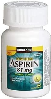 Kirkland Signature Low Dose Aspirin, 1 Bottle - 365Count Enteric Coated Tablets 81 Mg Each