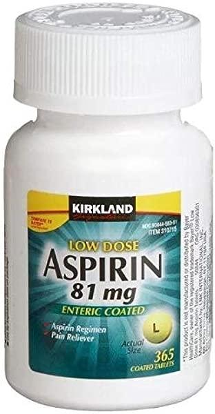 Kirkland Signature Low Dose Aspirin 1 Bottle 365 Count Enteric Coated Tablets 81 Mg Each