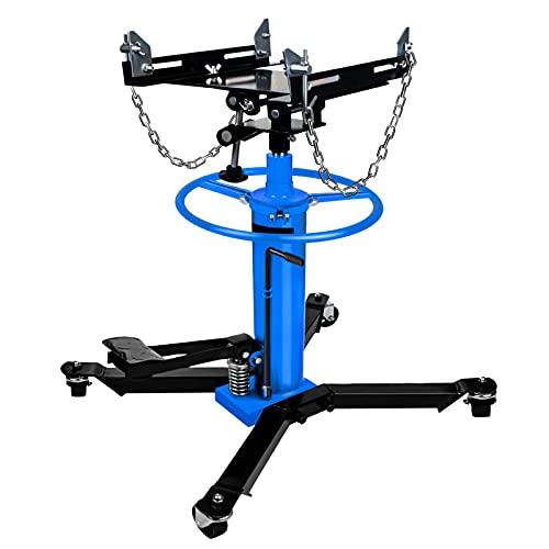 【US Spot】Transmission Jack,Hydraulic Garage/Shop Telescoping Transmission Floor Jack,1660 lbs Transmission Jack 2 Stage Hydraulic w/ 360° for car lift 0.75 Ton (Blue)