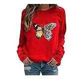 Blusa de manga larga para mujer con estampado de mariposas y plumas, ideal como regalo de Pascua, San Patricio (rojo-M)