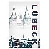 artboxONE Poster 60x40 cm Städte Lübeck & Holstentor