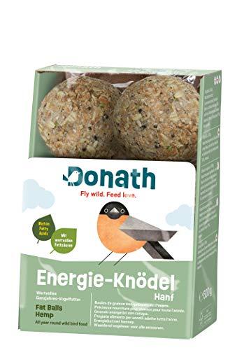 Donath Energie-Knödel Hanf, ohne Netz - 6 Meisenknödel ohne Netz (6 x 100g) - mit wertvollen Fettsäuren - wertvolles Ganzjahres Wildvogelfutter - aus unserer Manufaktur in Süddeutschland